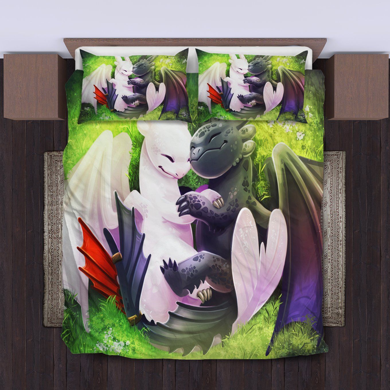 Toothless And The Light Fury Bedding Set 1 Duvet Cover And Pillowcase Set How Train Your Dragon How To Train Your Dragon Dragon Bedding