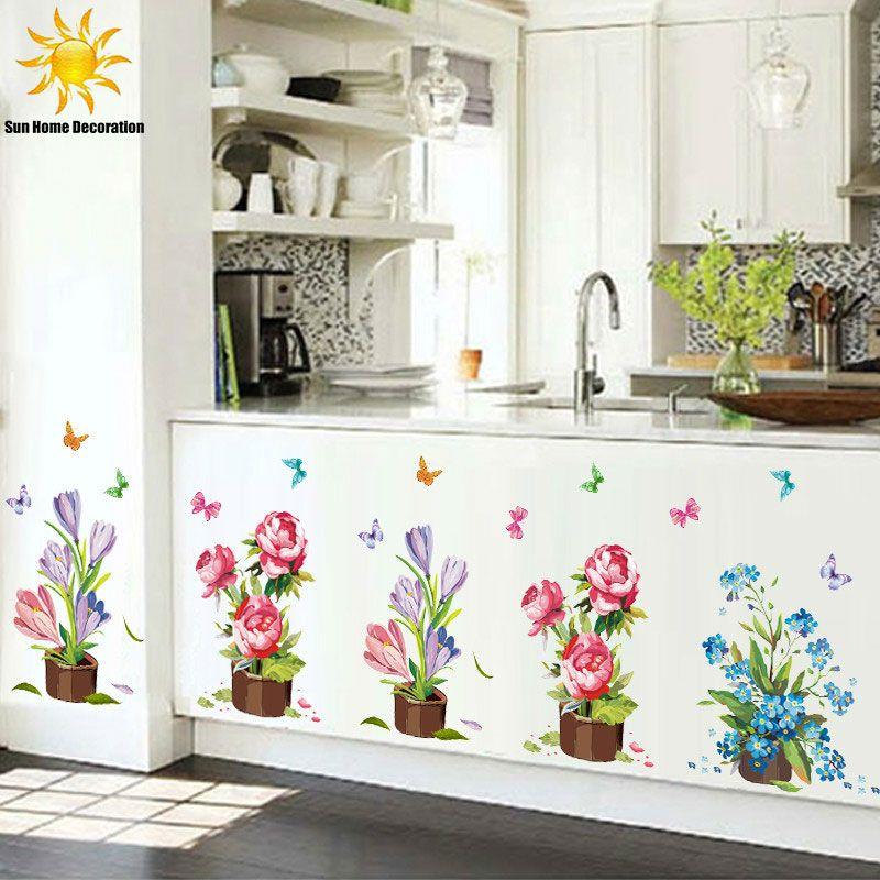 pintados mo vasos de adesivos de parede flor adesivos de vinil adesivos de parede para - Flor Decor