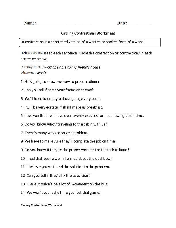 Contractions Worksheet Circling Part 1 Intermediate