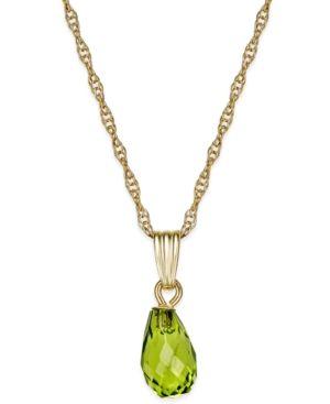 Peridot Briolette Pendant Necklace (1-3/4 ct. t.w.) in 14k Gold - Green