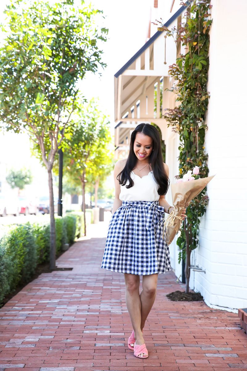 abc2ed40277d13 Spring outfit idea - gingham skirt scalloped cami