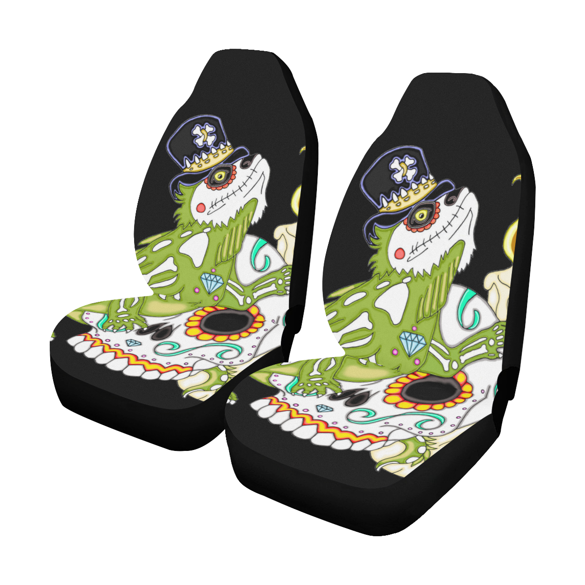 Iguana Sugar Skull Car Seat Covers Set Of 2