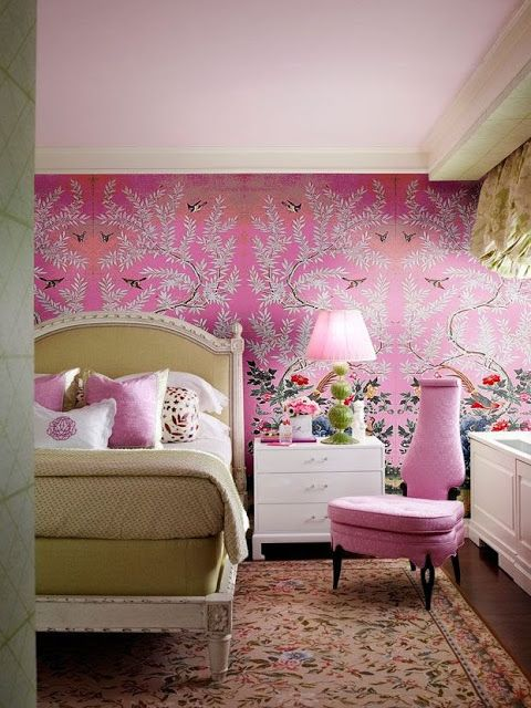 bold pink hand painted Chinoiserie wallpaper panels from decorative ...