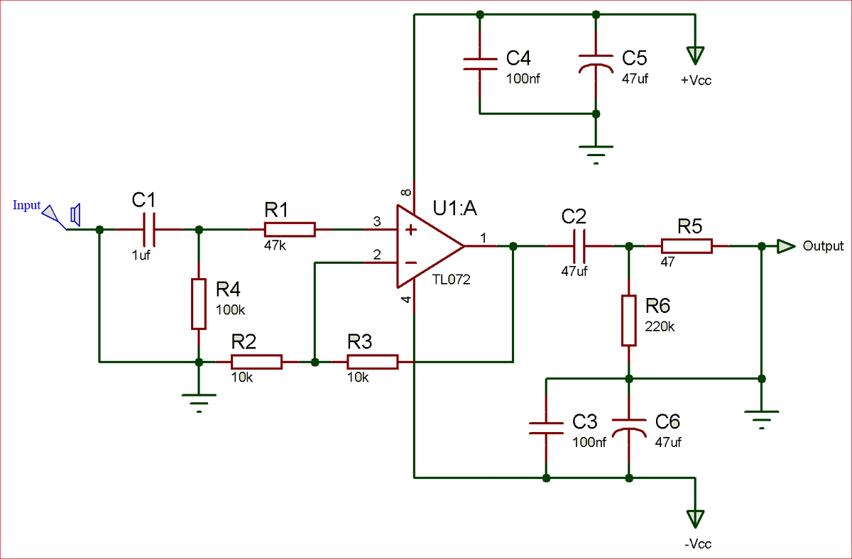 Circuit diagram of audio pre-amplifier using TL072 op-amp IC