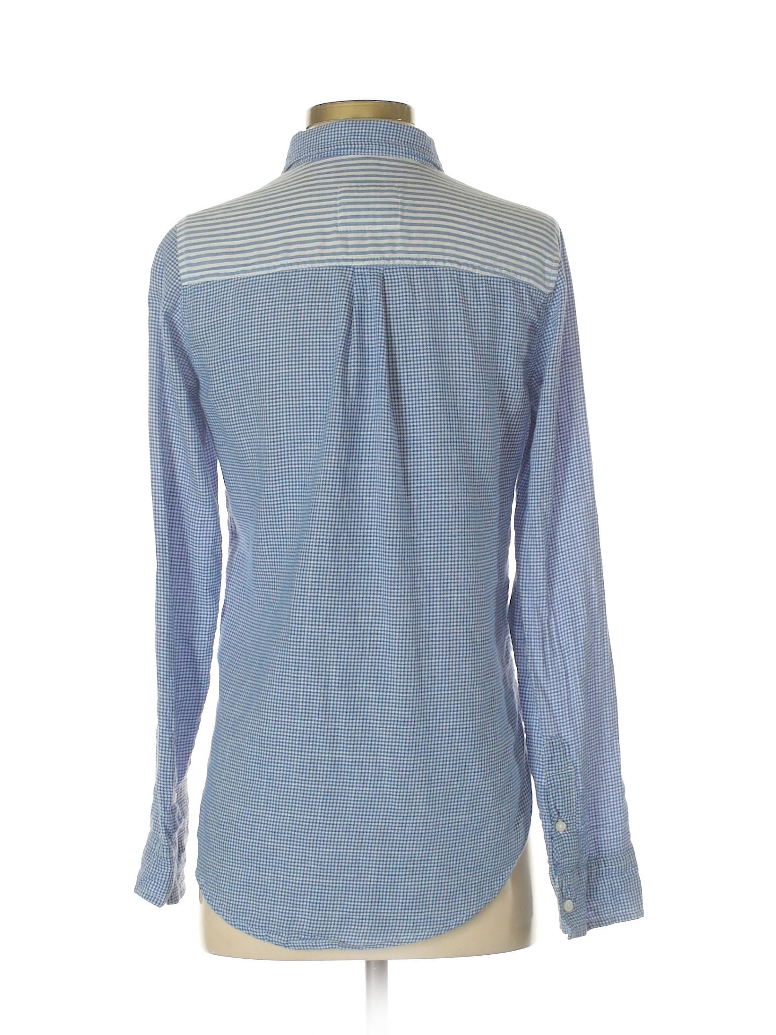 Abercrombie & Fitch Long Sleeve Button Down Shirt Dark Blue Women s