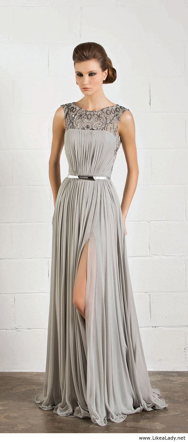 Beautiful long grey dress just not as high of a slit as this one