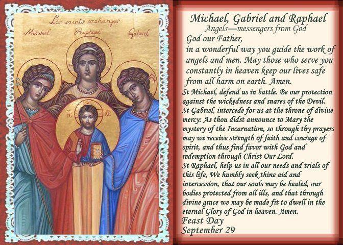 Sts  Michael, Gabriel & Raphael, Angels  The Feast of Saints