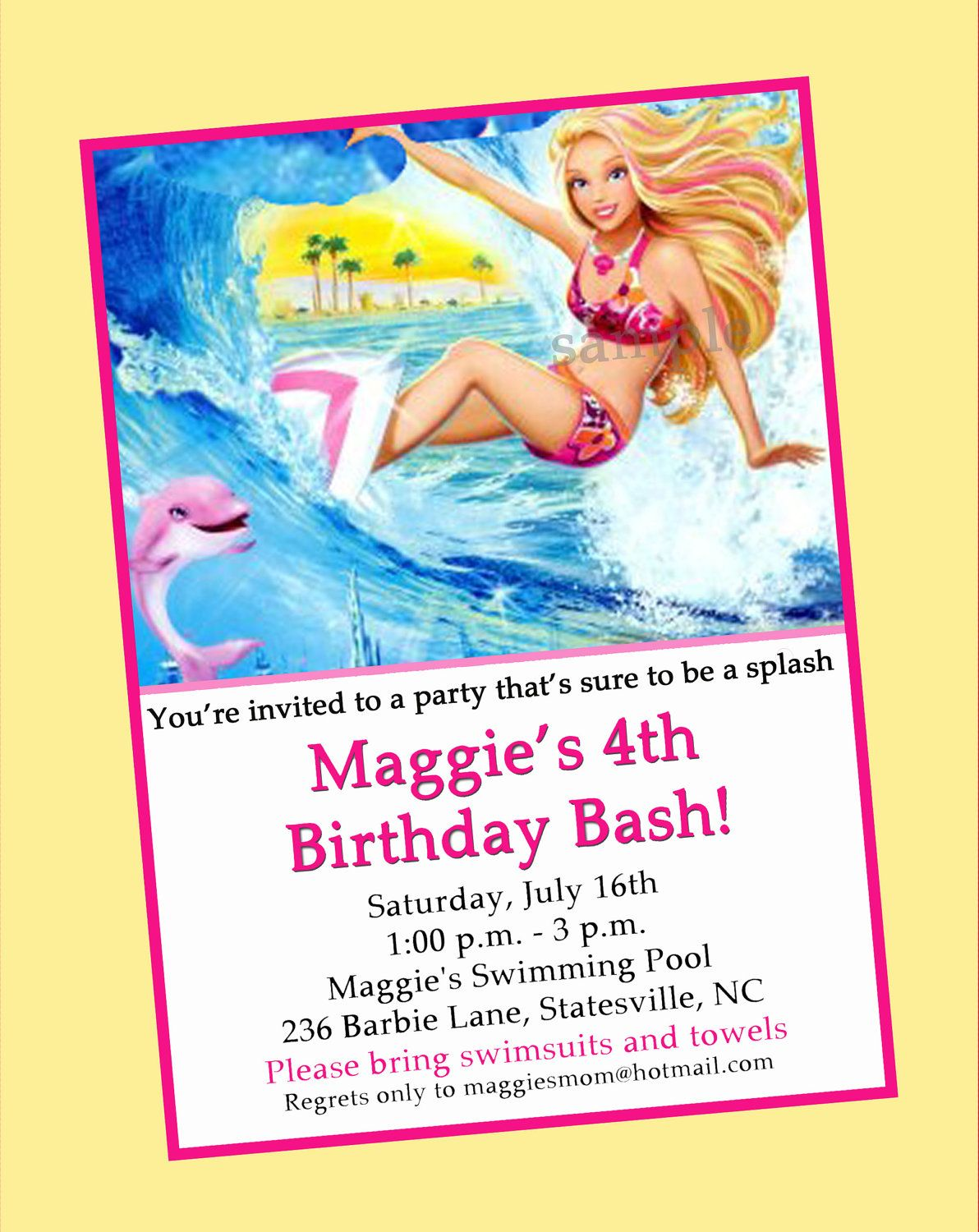 Invitation Idea Barbie Birthday Party Mermaid Fun