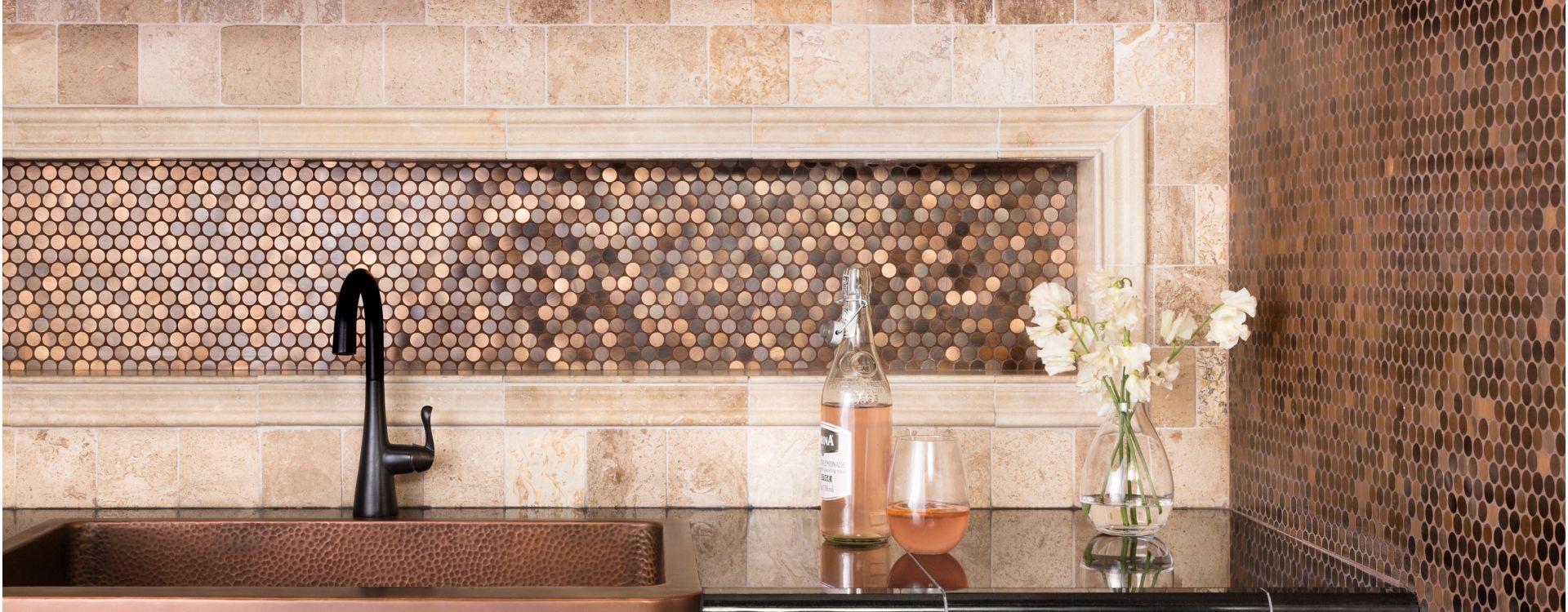 Kitchen backsplash with copper metallic tile.   Tile trim, Tile ...