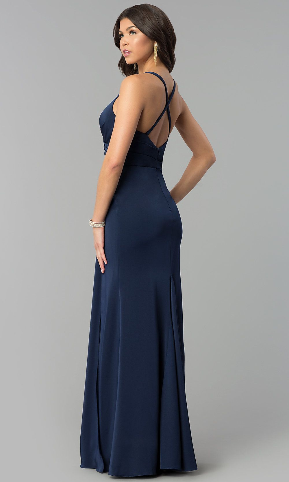 7118a5a9cf9 V-Neck Long Mock-Wrap Prom Dress - PromGirl