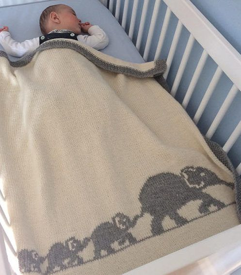 Knitting Pattern for Elephant Family Baby Blanket - Finished size of ...