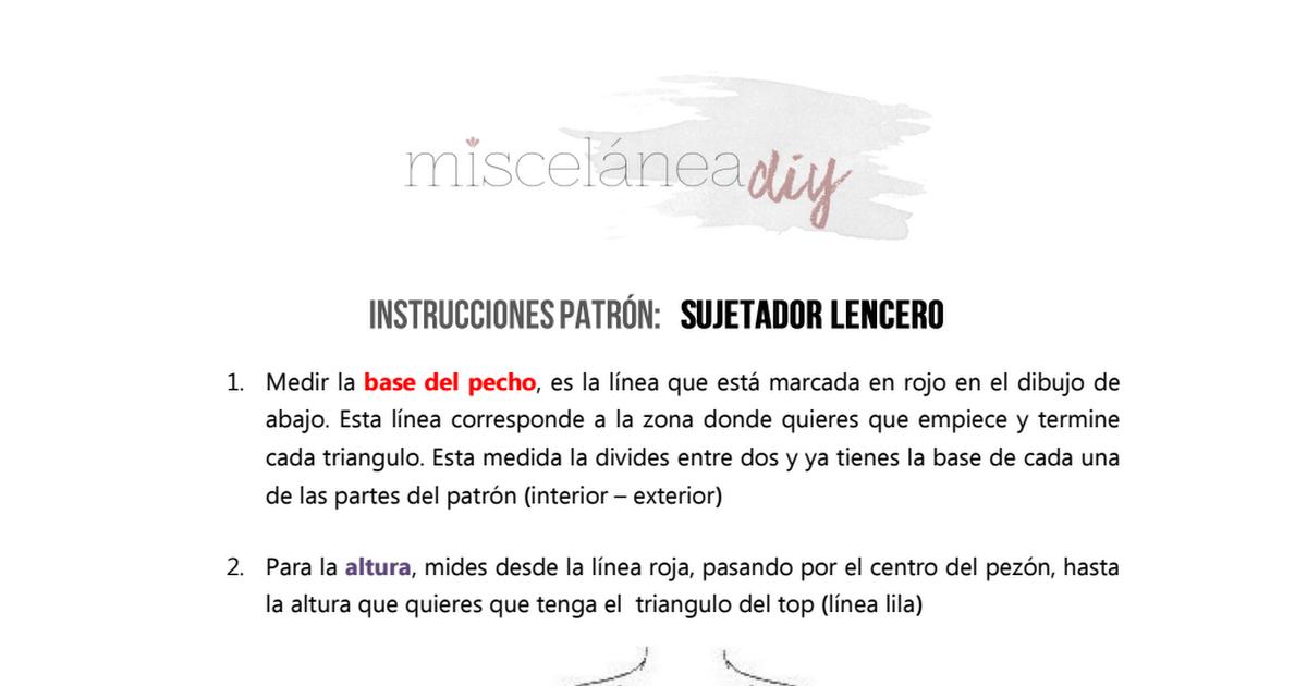 INSTRUCCIONES PATRÓN-Sujetador lencero.pdf   patterns   Pinterest ...