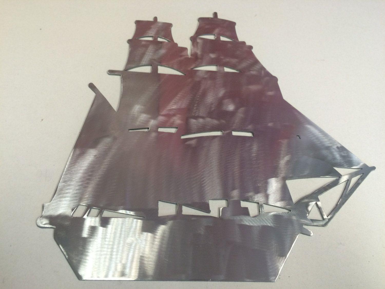 Pirate Ship Metal Wall Art Decoration Ocean Nautical Sea Life
