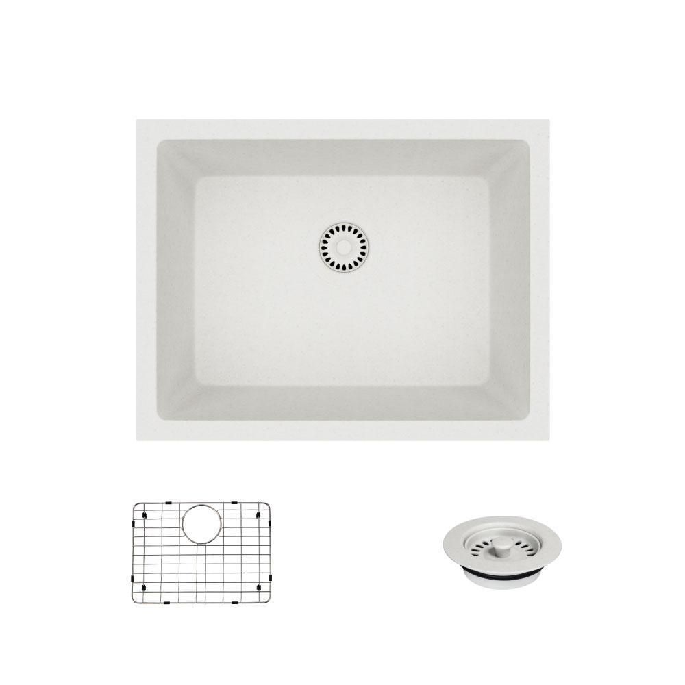 Dual-Mount Quartz 21-5/8 in. Single Bowl Kitchen Sink in Ivory ...