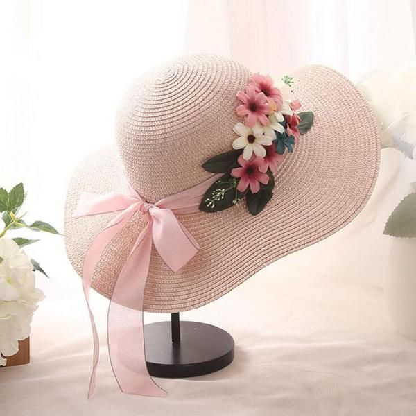 Double Flowers Weave Straw Hat