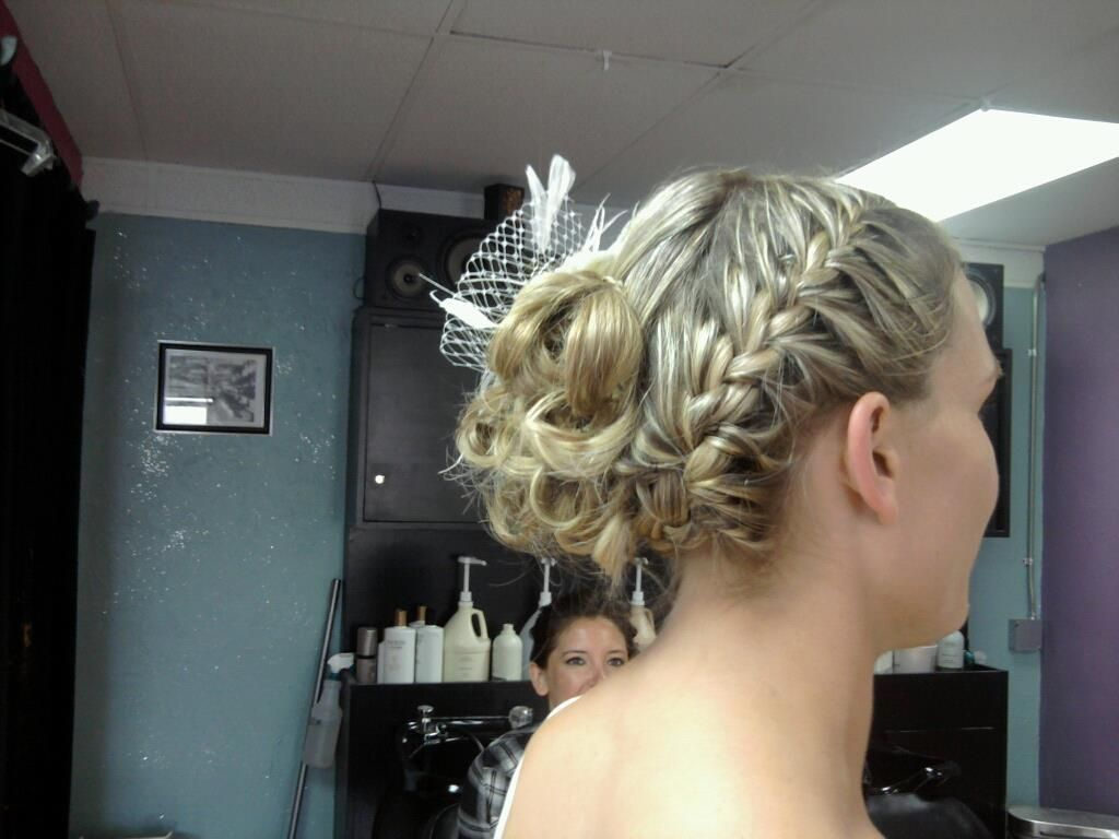 Braid updo into loose curls with hairpiece bridalwedding party