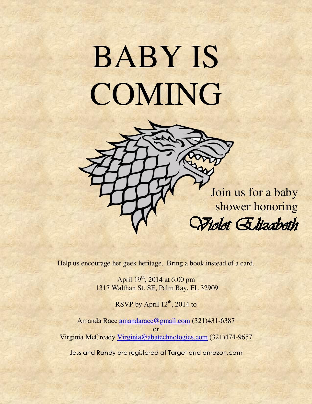Geeky Baby Shower Invite Game Of Thrones Baby Is Coming Game