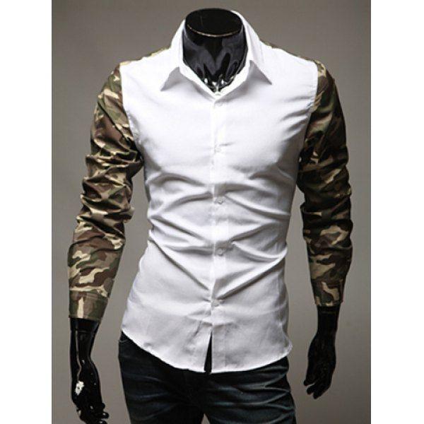 Fashion Color Block Camo Splicing Shirt Collar Long Sleeve Slimming Polyester Shirt For Men