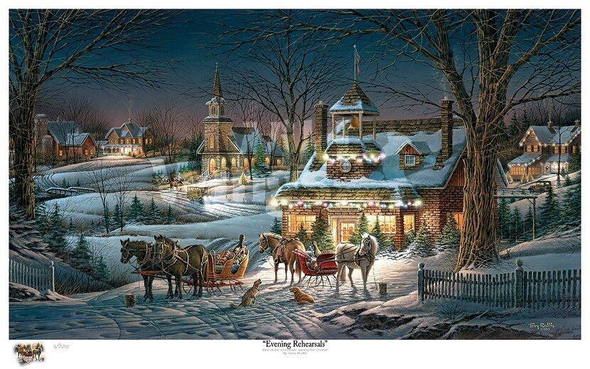Evening Rehearsal Limited Edition Art Print Wall Art Terry Redlin Christmas Jigsaw Puzzles Winter Scenes