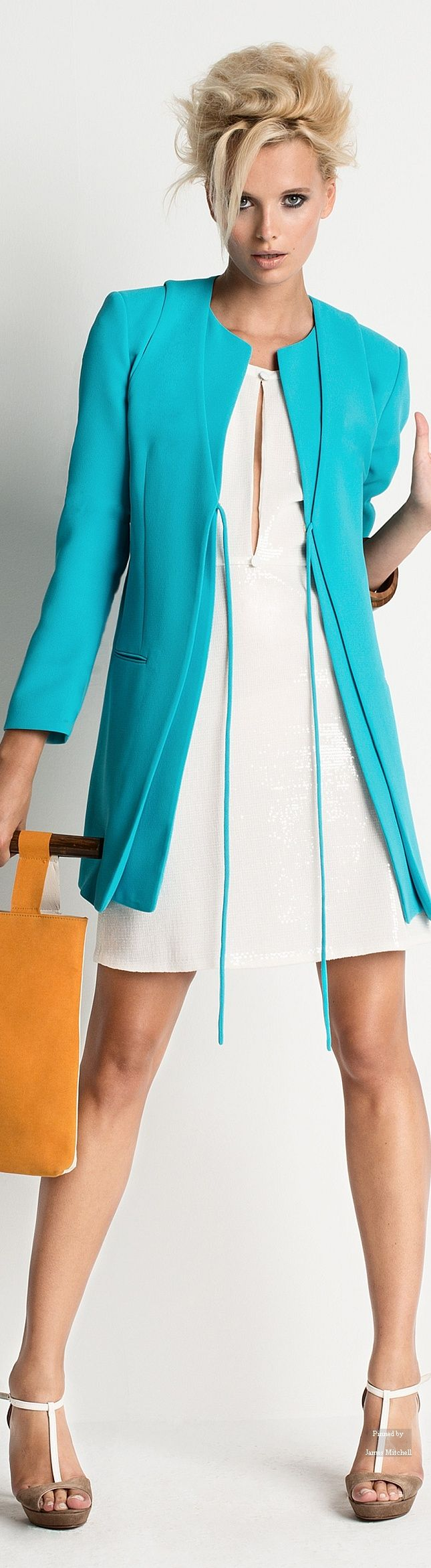 Spring Summer 2015. Cyan blazer white short dress women fashion style clothing
