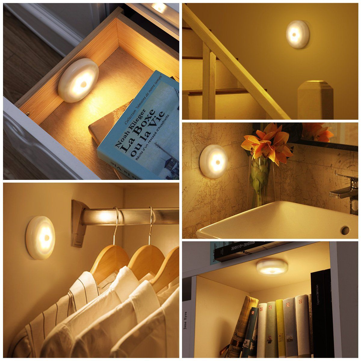 Amir Motion Sensor Light Cordless Batterypowered Led Night Light Stickanywhere Closet Lights Stair Lights Safe Sensor Night Lights Led Night Light Night Light