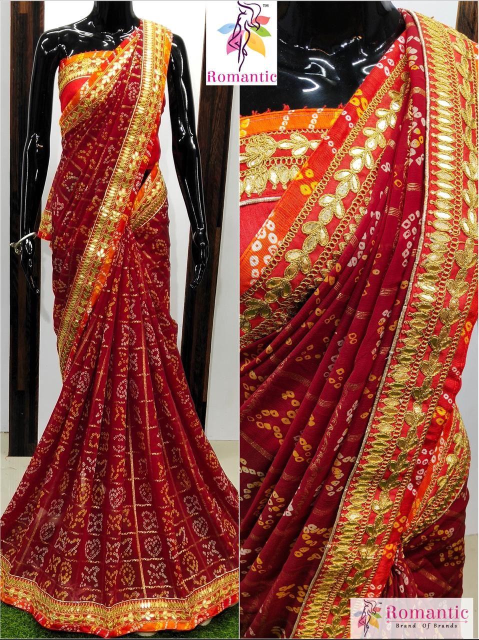 Indian Rajasthani Pure Georgette Saree with Heavy Gota Patti wedding Sari