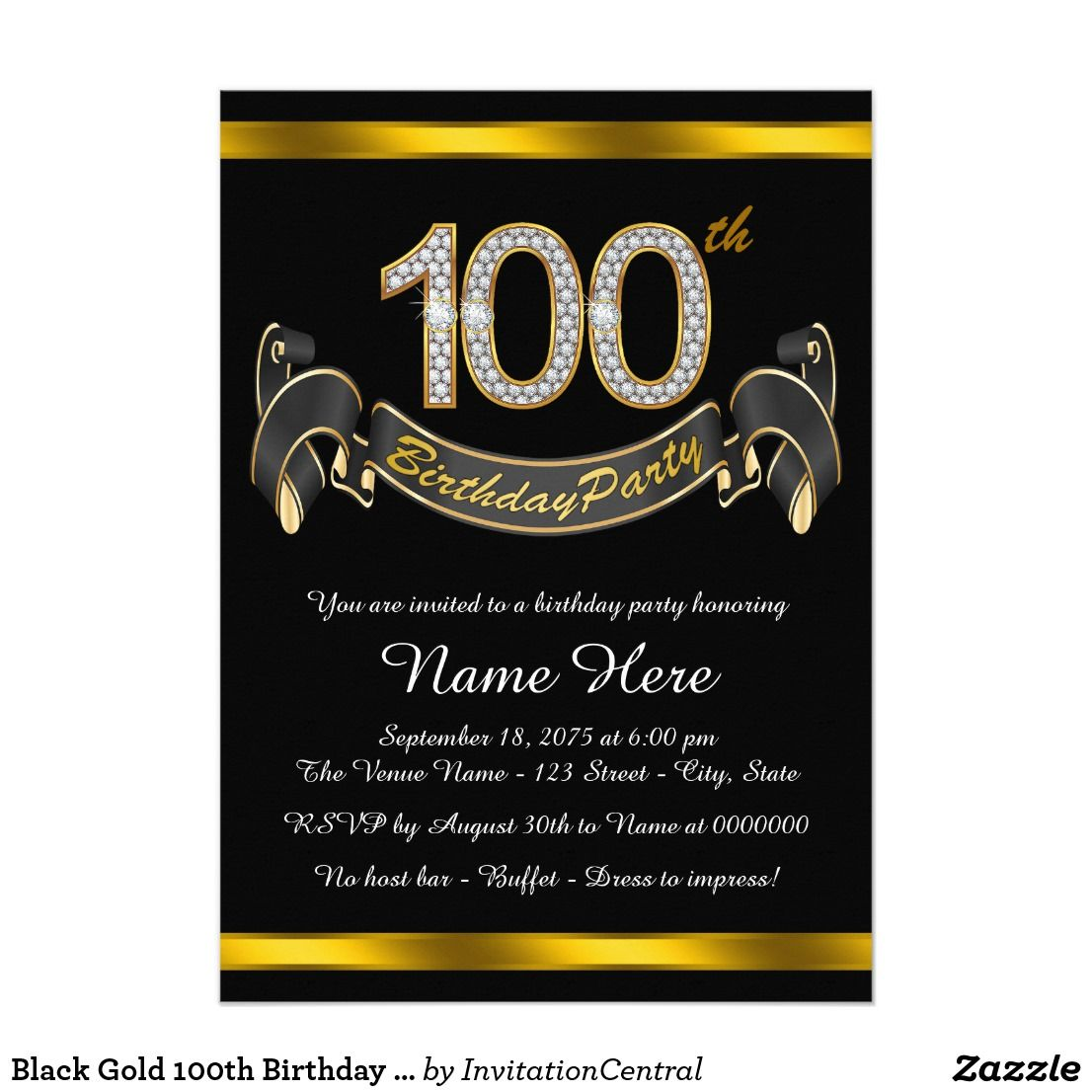 black gold 100th birthday party