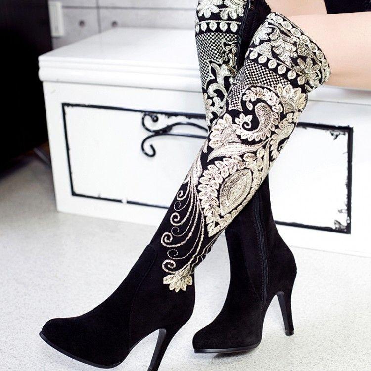 Cheap Nueva moda botas de tacón alto mujeres punta estrecha bordado Glitter  flores de caña alta botas negro botas hasta la rodilla zapatos de boda, ...