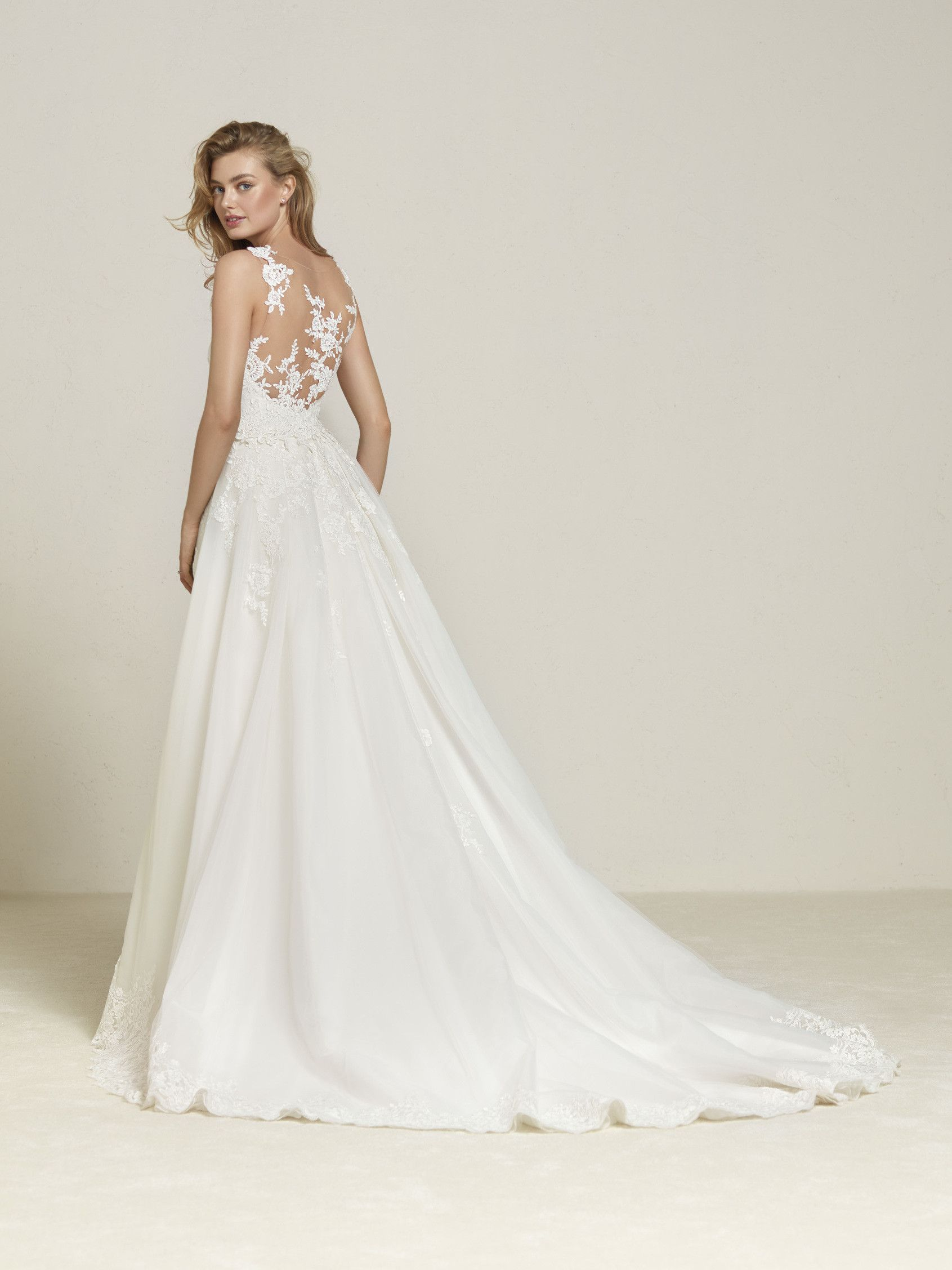 Wedding dress with detachable overskirt
