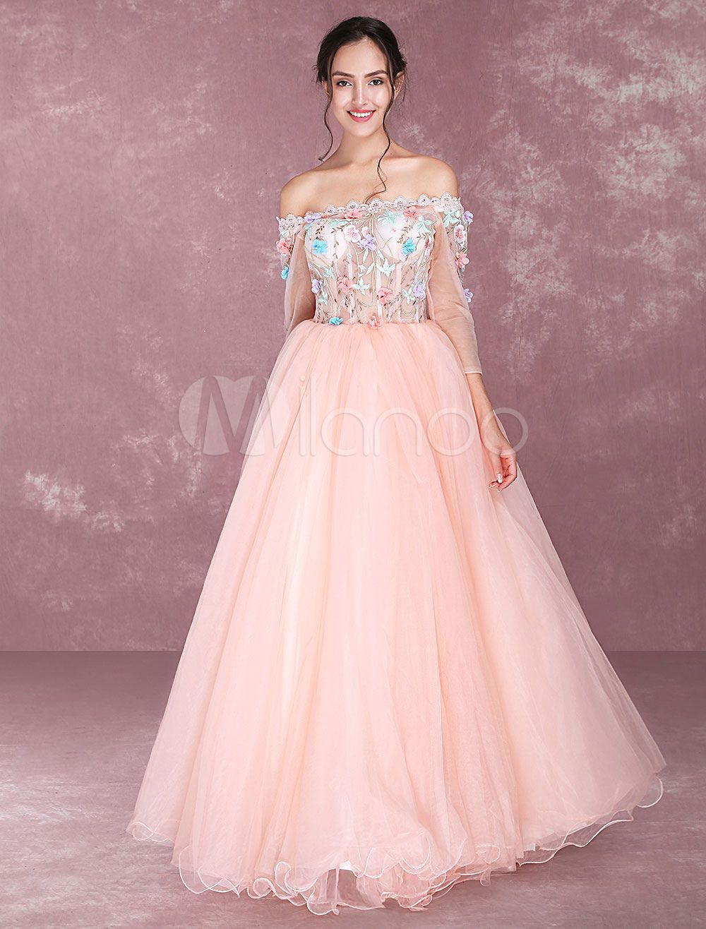 Orange Quinceanera Dresses Tulle Off The Shoulder Prom Dresses ...