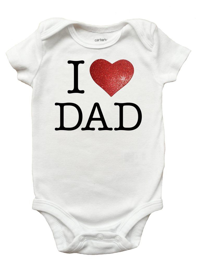 d07c0020 I Love Dad Bodysuit - Fathers Day I Love Dad Romper (Sizes Newborn - 18  Months) #fathers-day-i-love-daddy-onesie #fathers-day-i-love-papa-onesie ...