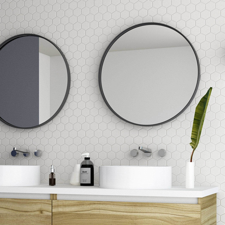 Miroir Encadre L 60 X H 60 Cm Diam 60 Cm Noir Randal Noua Miroir Miroir Rond Salle De Bains Et Miroir Mural Rond