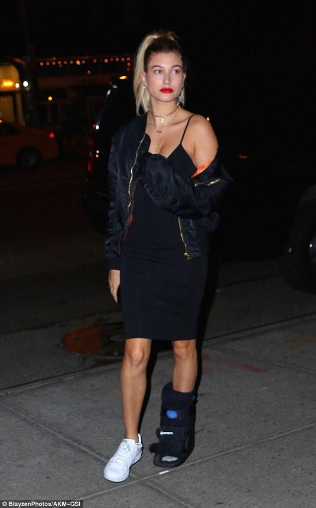 701fc060ce011 Hailey Baldwin wearing Adidas Stan Smith Sneakers, Vetements Bomber Jacket,  Jennifer Fisher Gothic Charm and T by Alexander Wang Fitted High-Lux Ponte  Midi ...