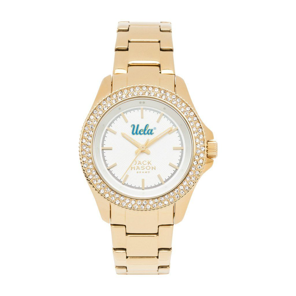 Elegant, sophisticated and classy.  This beautiful ladies watch features a white dial accented by the UCLA Bruins team logo.  Three hand analog display plus stainless hour markers makes it easy to read.  Elegant crystals give a little glitz and shine.  Polished gold tone plating on a stainless steel case and watch bracelet with fold over clasp closure.  Scratch resistant mineral crystal.  Battery powered Japanese Quartz watch movement.  1 year limited warranty.  A dress watch for a lady with…