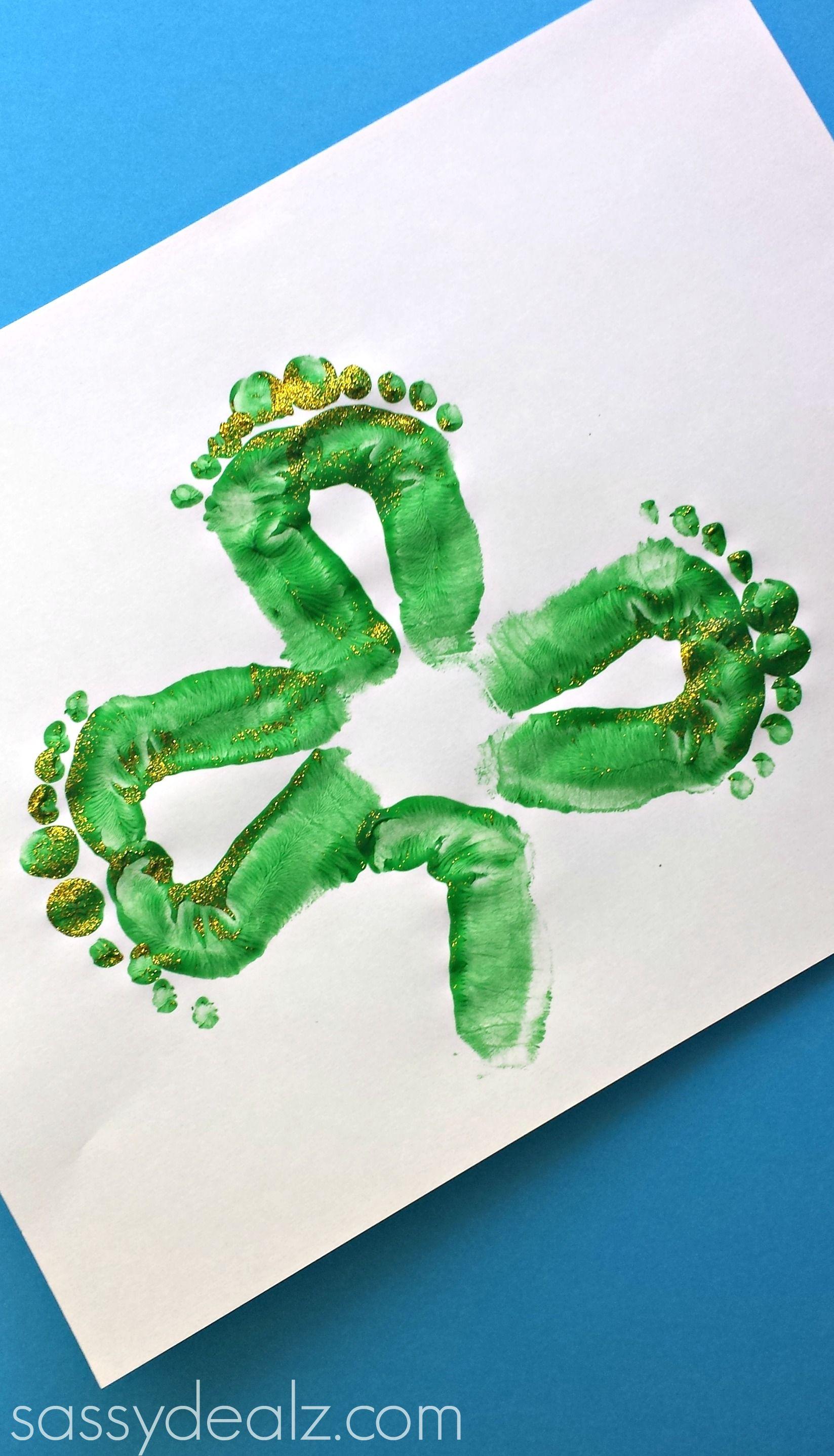 Shamrock Footprint Craft For Kids St Patricks Day Art Project Diy