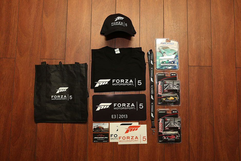 Promotional forza motorsport 5 t shirts hats stickers lanyards and tote bags