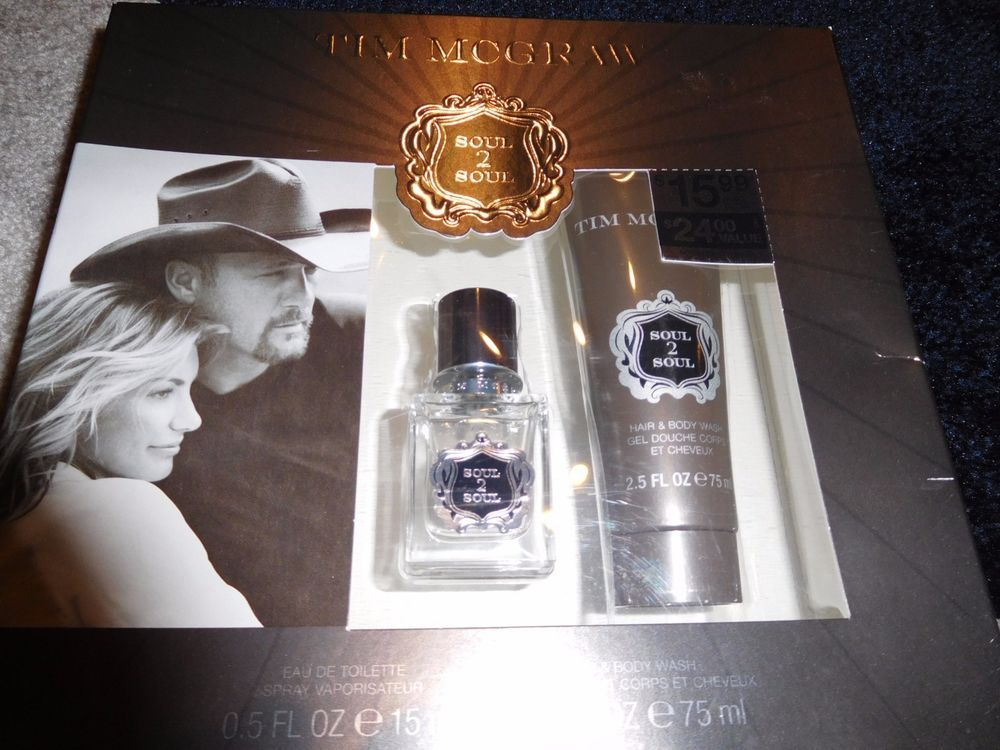 Tim Mcgraw 2 pc Cologne Men Gift Set Soul to Soul EDT Hair & Body Wash Gel #TimMcgrawCoty