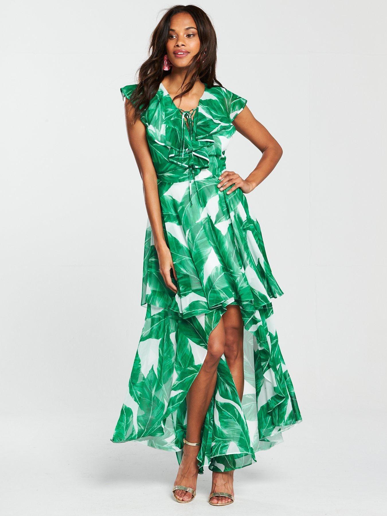 1ee279ce06e V by Very Printed Frill Maxi Dress - Palm Print