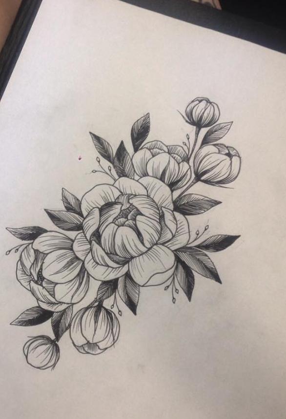 0ccfbec8aa545 Layout style Peony Flower Tattoos, Tatoo Floral, Peonies Tattoo, Rose  Tattoos, New