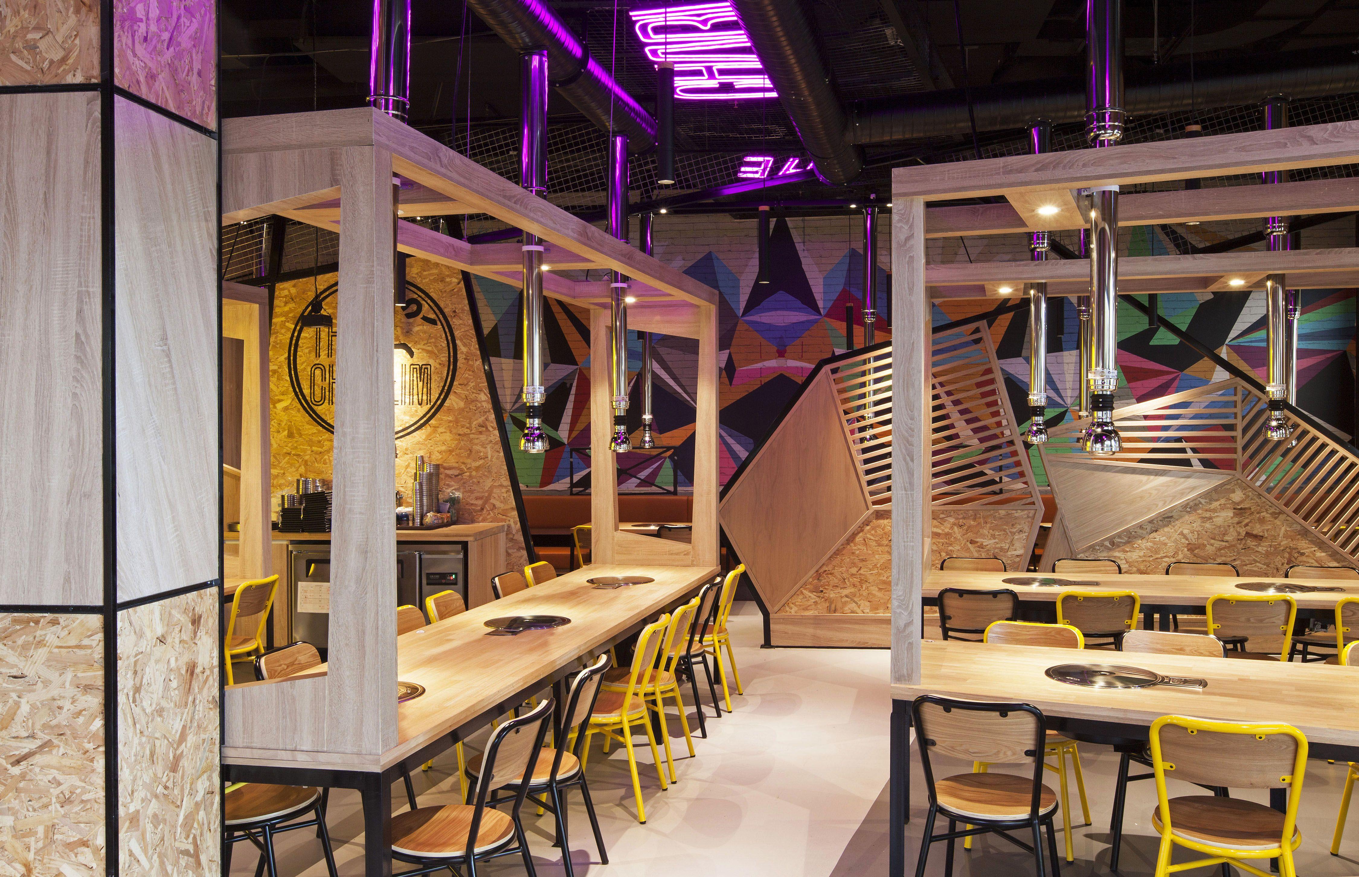 The Charlim a Korean BBQ with modern geometrical twist interior