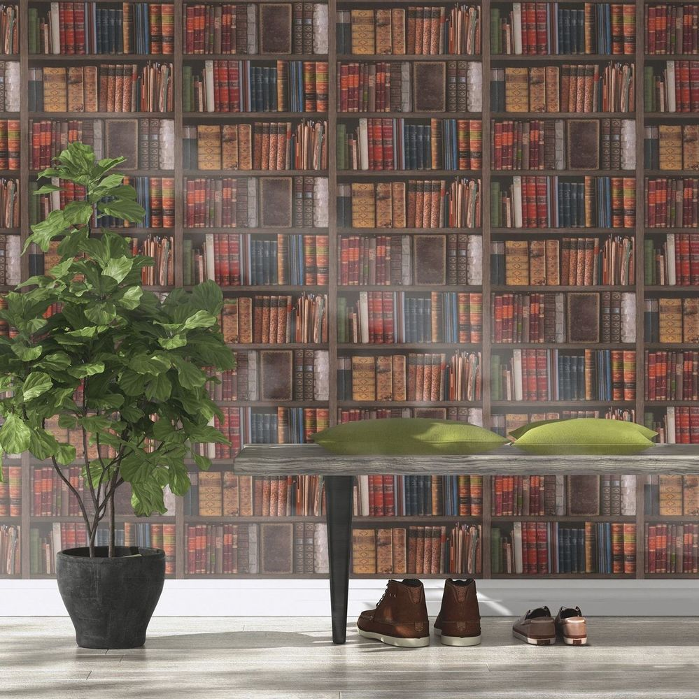 Details About Wallpaper Rasch Luxury Library Bookcase