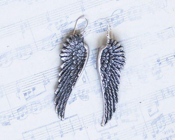 Silver Angel Wing Earrings Fairy Wings Delicate By