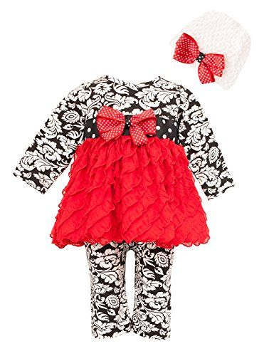 e76c912bd Peaches N Cream Baby Girls' Damask Red Eyelash Dress Romper & Hat 24M (