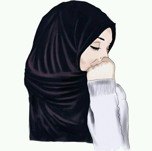 gambar hijab, drawing, and art
