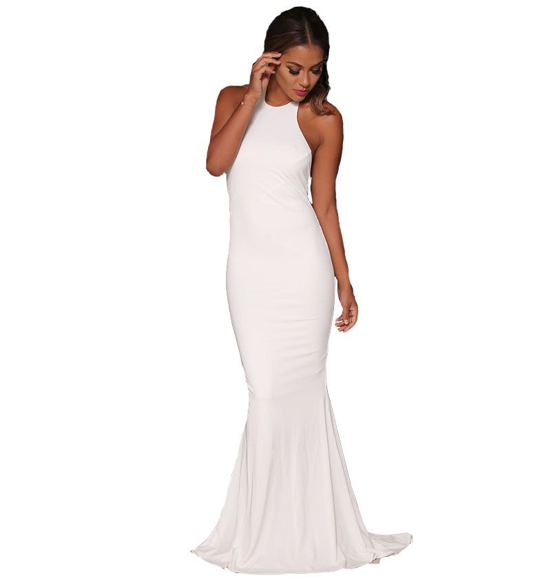 Abyss By Abby Coco Gown Highlights Your Curves In The White Bodycon Fit Stretch Material