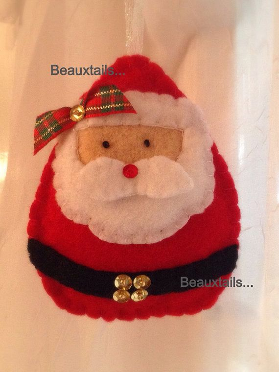 Handmade Felt  Santa Ornament / Gift Tag by BEAUXTAILS on Etsy