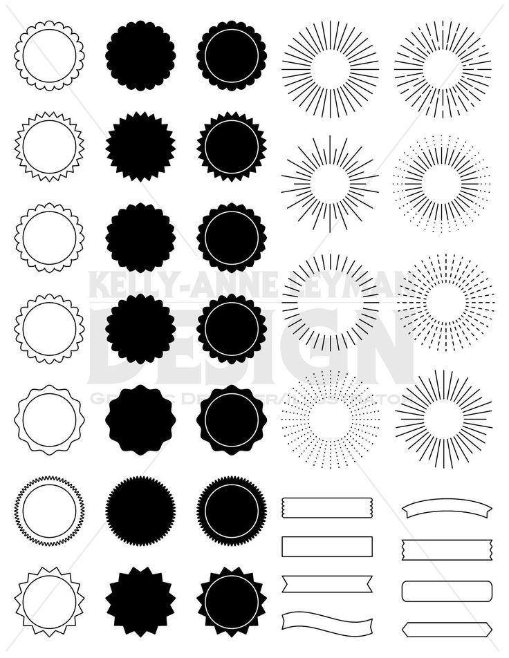 Circle Frame Clipart, Digital Label clipart, Sunburst