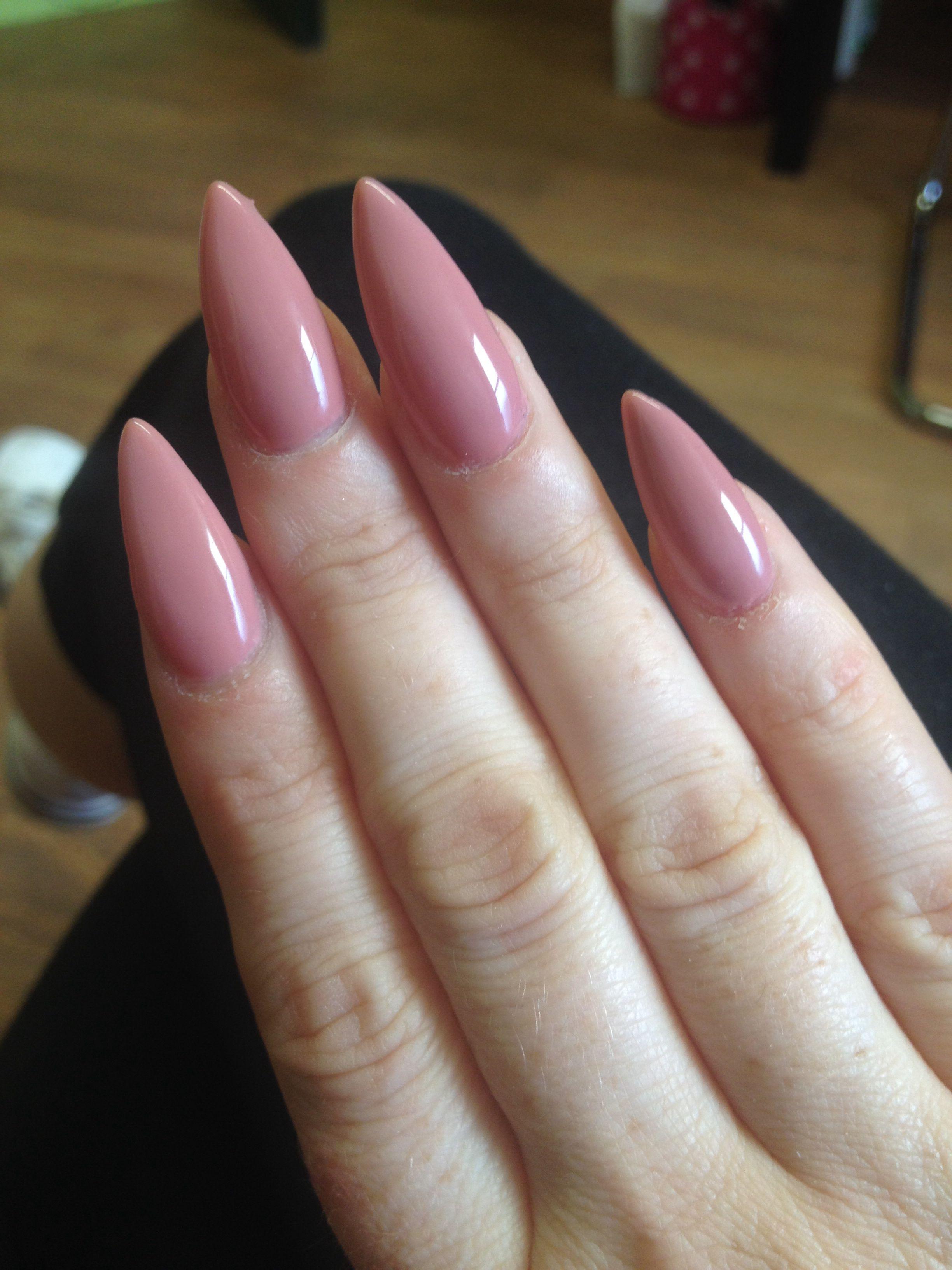 Nude stiletto nails, gel polish perfect Match\'s Mocking Bird | nails ...