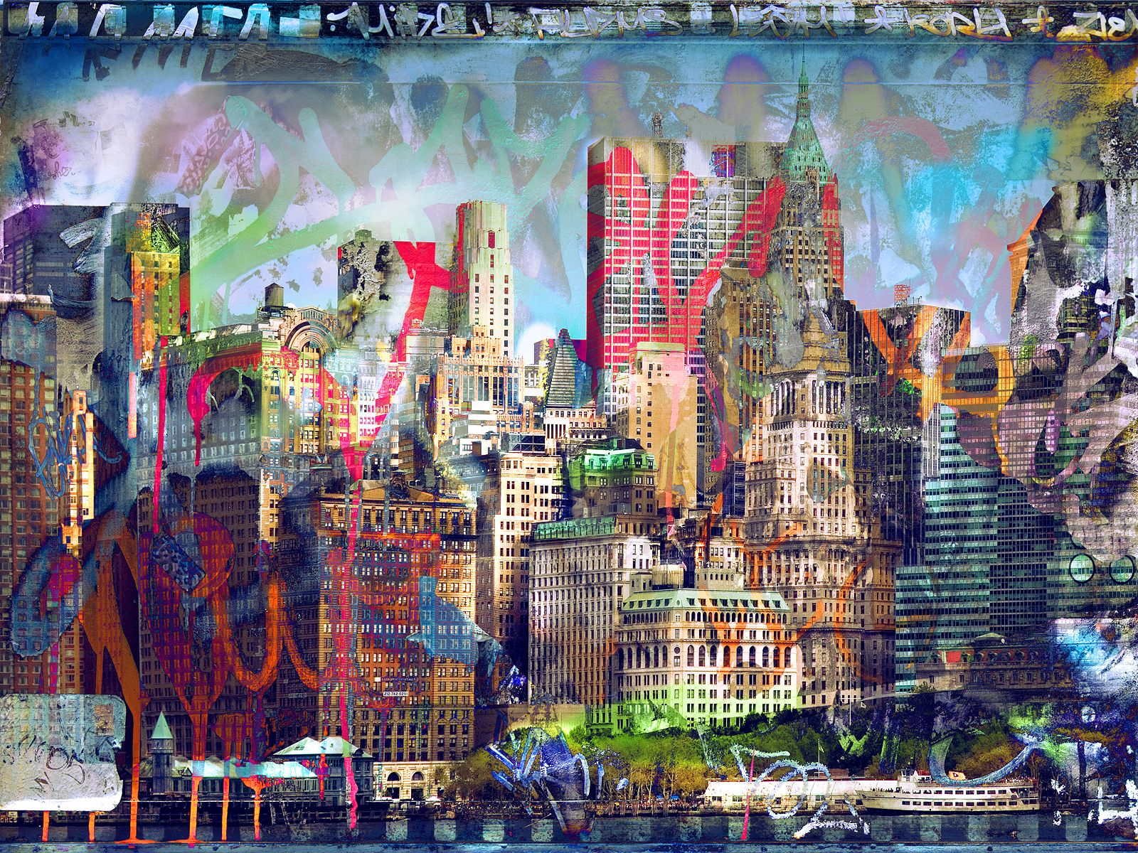 Graffiti Skyline Graffiti Wall City Art Photo Wall Art