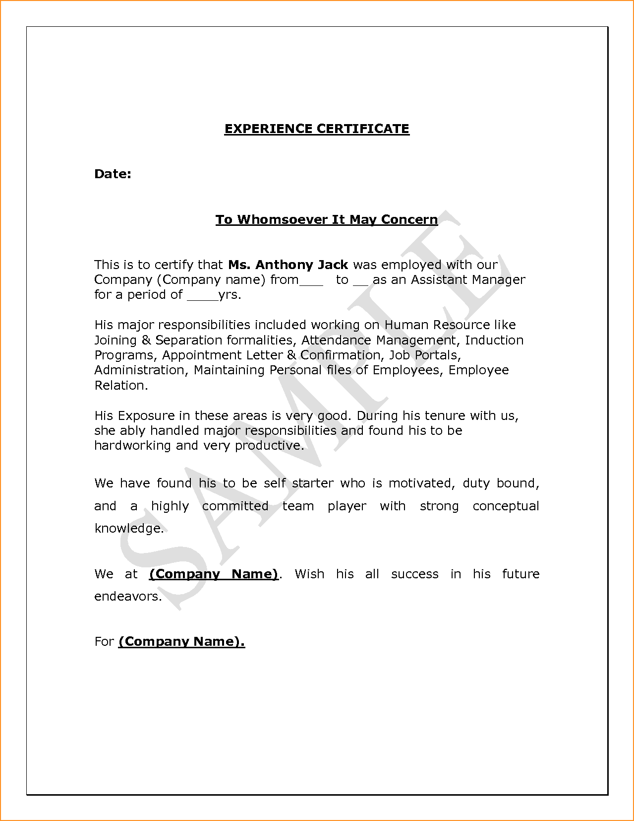 Employment Separation Certificate Form Inspiration Letter Format Experience Appointment Sample For Excel Pdf And Word .